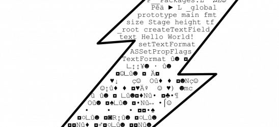 A Flash file usually contain many non-printable characters.