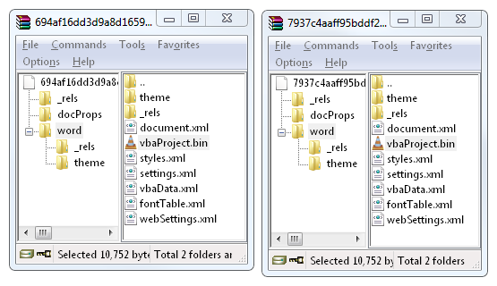 macros are located in ZIP/word/vbaProject.bin