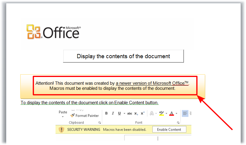 a malicious Office document trying to convince the user to enable macros.
