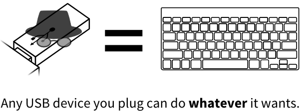 Any USB device you plug can do whatever it wants.