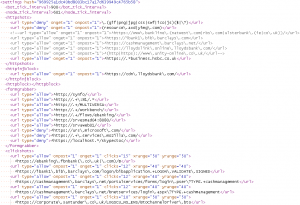 Traditional Dridex settings in HTML