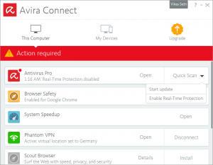 Avira Connect - Action required