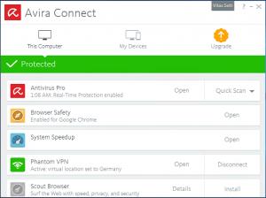 Avira Connect - Control Panel