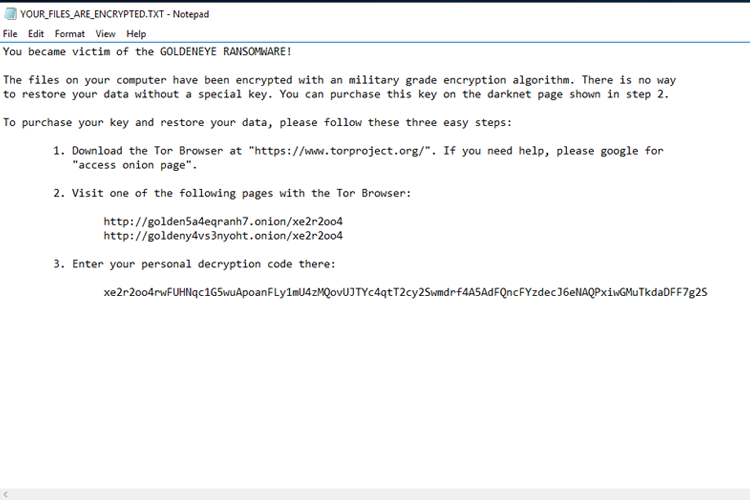 Goldeneye ransomware has been reactivated