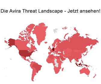 Besuchen Sie unsere 'Avira Threats Landscape' und sehen Sie eine Visualisierung von Bedrohungen.