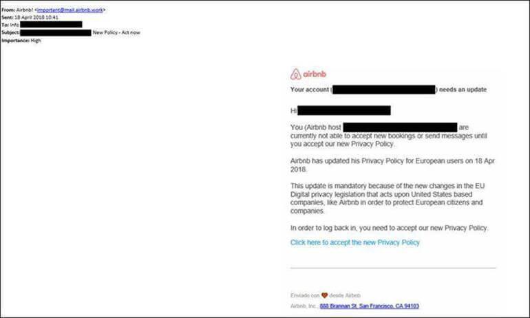 GDPR - Phishing Mail Airbnb