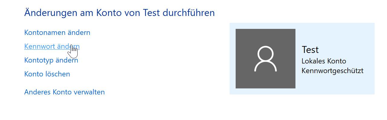 windows 10 user password change