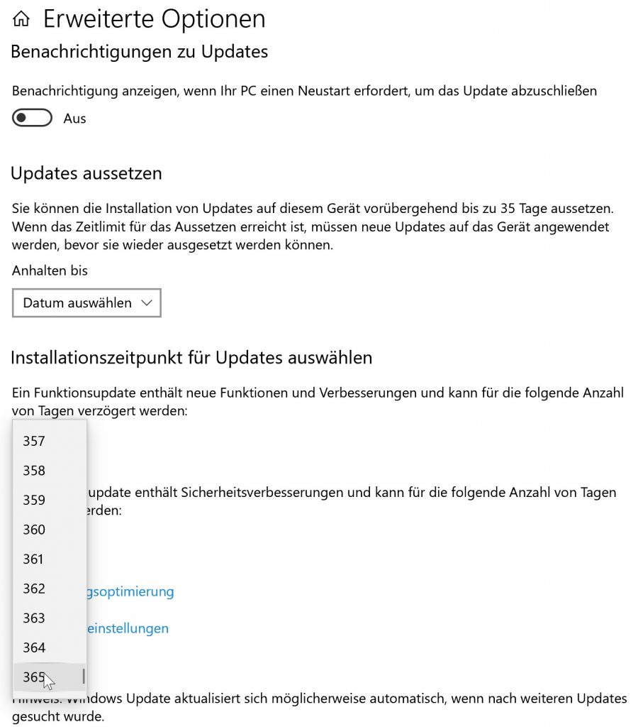 Updates unter Windows 10 aussetzen